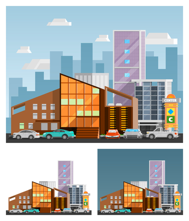 car road: Shopping mall building  orthogonal compositions set with signboard flat isolated vector illustration