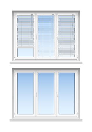 windows home: Modern classic white jalousies for home decoration and remodeling  2 realistic louvers windows icons set vector illustration