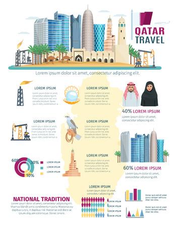simbolo de la mujer: Qatar infografía con el concepto de paisaje urbano con la mayoría de los símbolos famosos de la ilustración vectorial cartas del país y gráficos