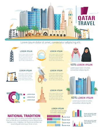 chart symbol: Qatar infographics with concept cityscape with most famous symbols of the country charts and graphs vector illustration