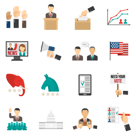 Set of color icons about vote and election american government isolated vector illustration