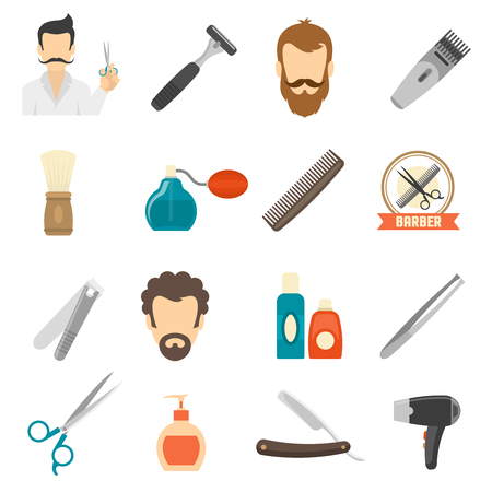 personal hygiene: Set color icons about barber with shave equipment and personal hygiene accessories isolated vector illustration