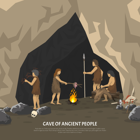 Color illustration showing activities ancient people in cave in stone age vector illustration Çizim