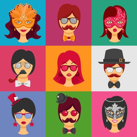 masquerade masks: Flat collection of decorative icons with people faces in carnival masks and masquerade attributes  for retro party isolated vector illustration