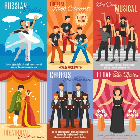 Flat theatre posters set of russian ballet rock and choral concert theatrical and opera performance vector illustration Illusztráció