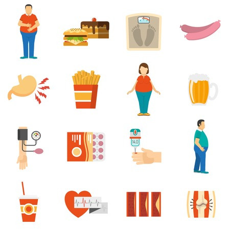 overeating: Collection color icons depicting factors and consequences of obesity with white background vector illustration