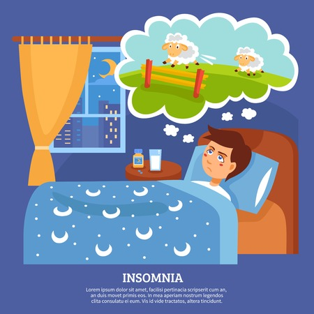 lying in bed: Insomnia sleep disorder symptoms with sleepless night cure tips flat poster abstract vector illustration