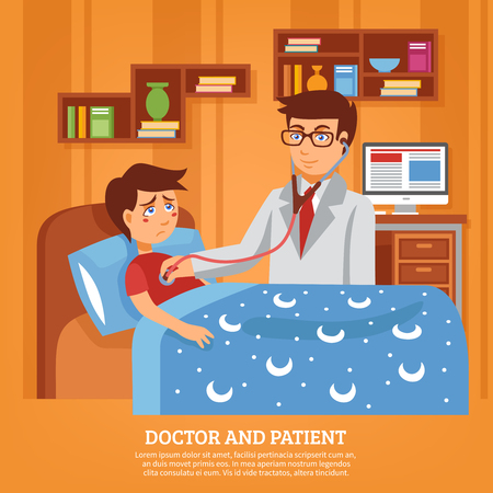 sick bed: Doctor practitioner in white coat with stethoscope attending sick schoolboy at home poster flat abstract vector illustration