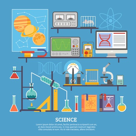 retort: Biochemistry scientific research laboratory flat poster with microscope chemical reaction tests and control mouse vector illustration