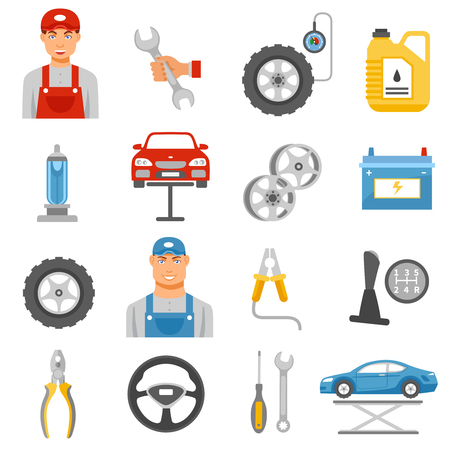 flat tire: Car repair shop tools and accessories and auto service mechanic flat icons set abstract isolated vector illustration