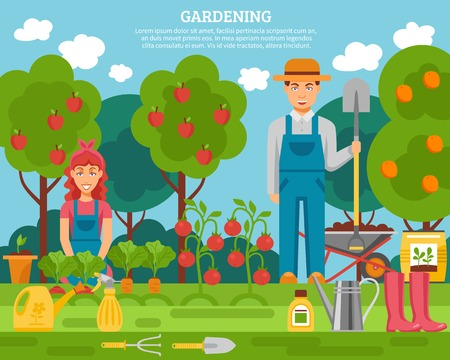 family gardening: Farmer family concept colorful poster with growing fruits vegetables and gardening tools flat poster abstract vector illustration