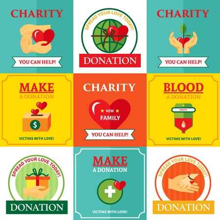nonprofit: Nonprofit charity helping people organization 9 flat emblems icons square design with heart symbol abstract isolated vector illustration Illustration