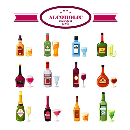 irish pub label: Alcoholic beverages bottles with wineglasses flat icons set for restaurant bar drinks special offers vector isolated  illustration