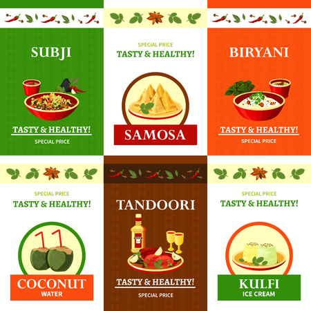 biryani: Indian cuisine special offer flat icons composition poster with spicy biryani rice dish abstract isolated vector illustration