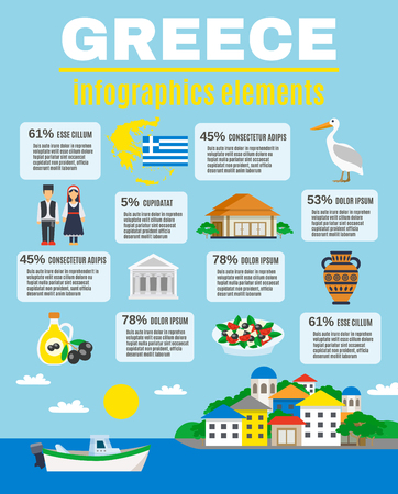 Infographics elements with bars percentages and traditional symbols Greece vector illustration