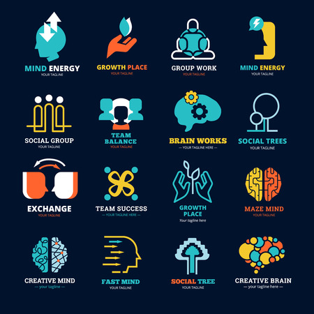energy balance: Brain works team balance social tree and other social relationship flat icons set isolated vector illustration