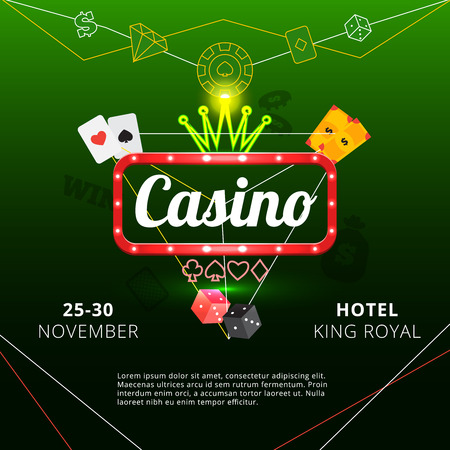 Invitation poster to hotel king royal casino with neon sign and crown on green background flat vector illustration
