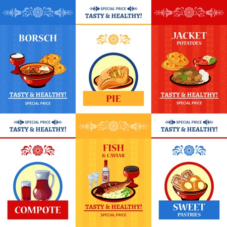 russian cuisine: Russian cuisine special offer flat icons composition poster with fish and caviar main dish abstract isolated vector illustration