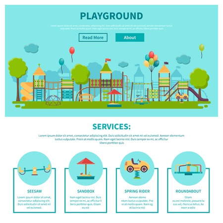 page site: Color illustration web site page about outdoor games showing different playground services seesaw sandbox spring rider roundabout vector illustration Illustration