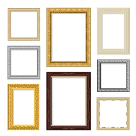 vintage colors: Vintage realistic frame set in different colors isolated vector illustration