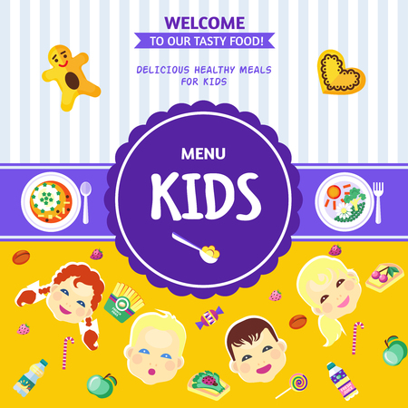 solids: Best choice baby food menu poster with healthy and delicious meals for kids flat abstract  vector illustration