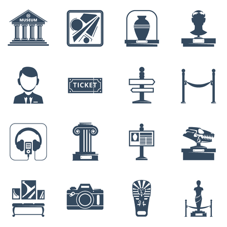 plinth: Museum flat icon set with black silhouette  symbols of museum interior exhibit and special signs vector illustration