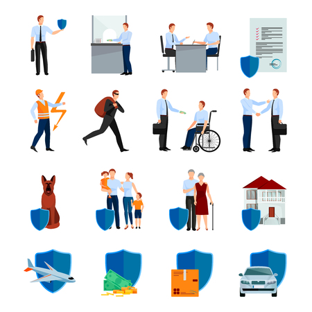 negotiations: Services of insurance company icons set with policy negotiations security of health and property isolated vector illustration