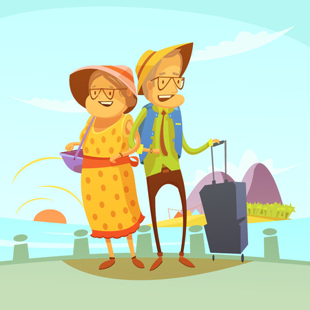 sights: Senior couple traveling background with suitcase and sights cartoon vector illustration