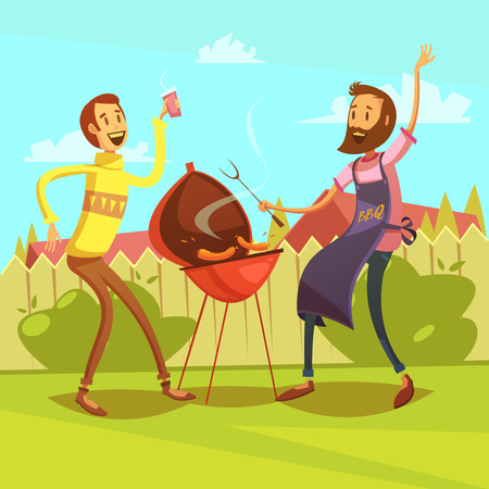 lawn party: Friends making barbecue background with sausages and drinks cartoon vector illustration