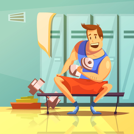 men cartoon: Man training arm muscles with dumbbells in a gym cartoon vector illustration Illustration