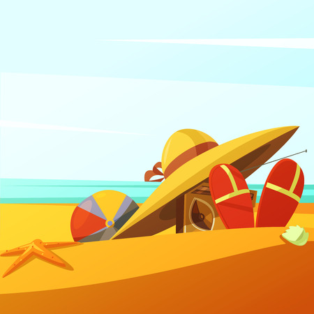 wears: Beach wears background with hat ball radio and slippers cartoon vector illustration Illustration