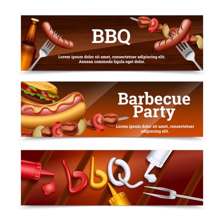 Barbecue party bannières horizontales avec hot-dog brochette hamburgers et jeu de sauce illustration vectorielle