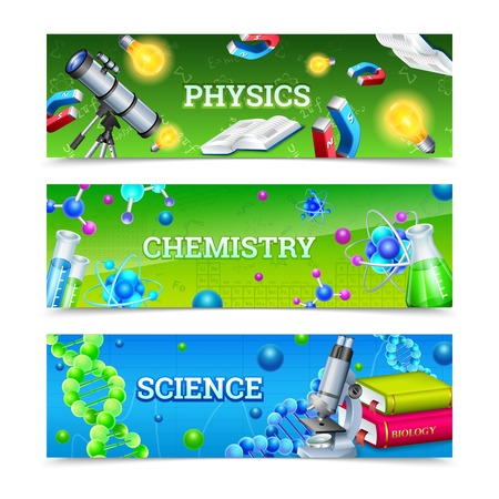 reagents: Science horizontal banners set with icons collection for chemical biological and physical laboratory experiment vector illustration