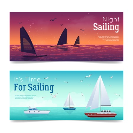 keel: Sailing horizontal cartoon banners set with yachts and sea isolated vector illustration