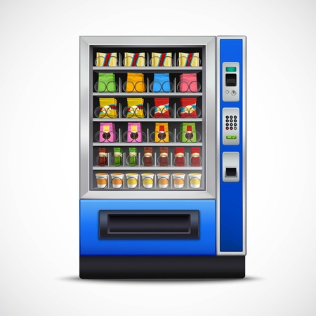vending: Realistic snacks vending machine with nuts chips sandwiches chocolates and beverages on white background isolated vector illustration