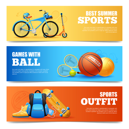 Summer sports cartoon horizontal banners set with cycling and basketball isolated vector illustration