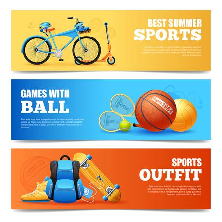 pelota caricatura: Verano de dibujos animados deporte banners horizontales establecidas con el ciclismo y la ilustraci�n vectorial aislados de baloncesto