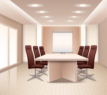 Réaliste salle de réunion intérieur en couleur rose pâle avec table marron fauteuils de bureau et le conseil illustration vectorielle