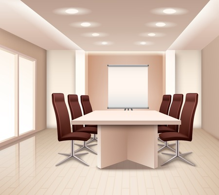 Realistic meeting room interior in pale rose color with table brown office armchairs and board vector illustration Illustration