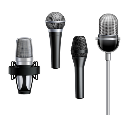 metal mesh: Microphone collection in grey and black colors with metal mesh on white background in realistic style isolated vector illustration