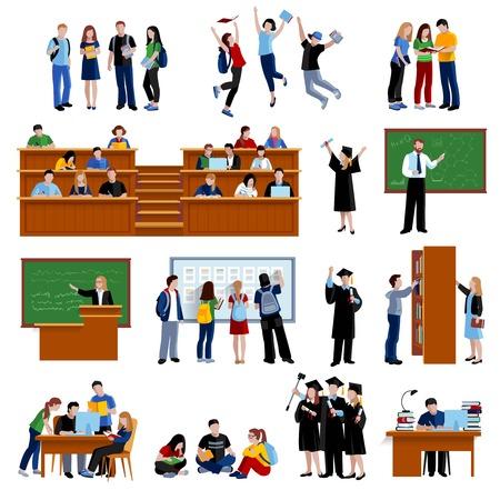 Les étudiants de l'université dans la bibliothèque, auditorium et après examen plat couleur icons set sur fond blanc isolé illustration vectorielle Vecteurs
