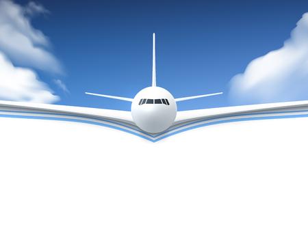 Realistische Plakat Weiß-Flugzeug in den Himmel mit weißen Unterseite abstrakten Hintergrund Vektor-Illustration fliegen