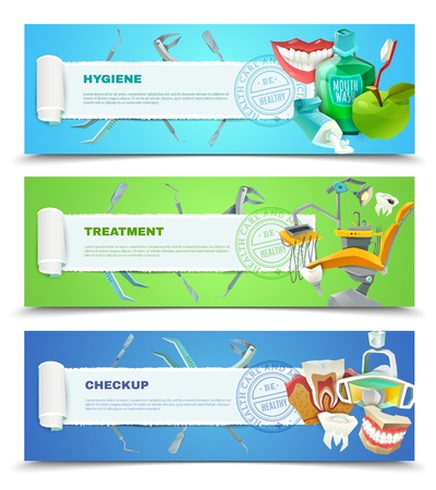 checkup: Dentist oral hygiene regular checkup and teeth decay preventing treatment 3 flat banner set abstract vector illustration