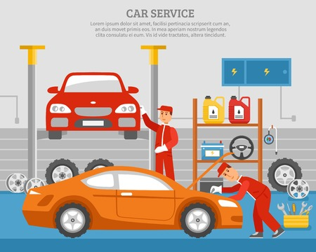 machine oil: Mechanical services of car with repair of vehicles shelves with accumulator steering wheel machine oil vector illustration