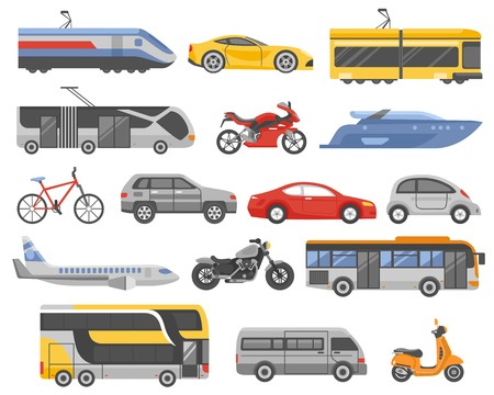 Transport decorative flat icons set with cars bus metro airplane train tram yacht motorcycle isolated vector illustration