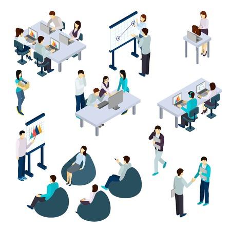 Coworking mensen isometrische set met werk en rust symbolen geïsoleerd vector illustratie