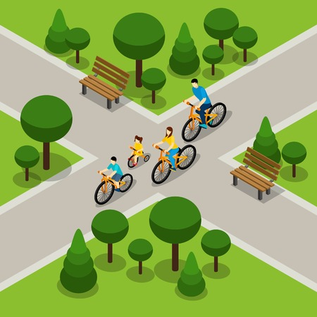 Family with two children cycling in city park isometric banner on healthy active lifestyle abstract vector illustration