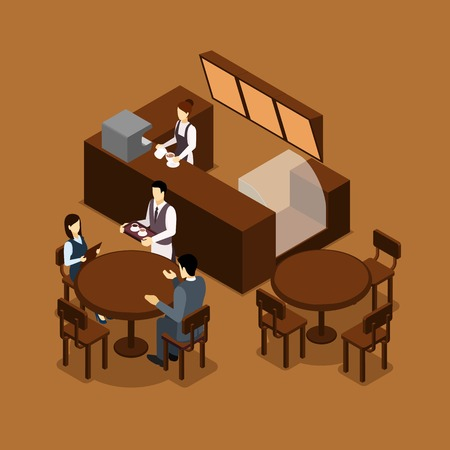 visitors: Coffee shop cafe interior isometric banner in brown tints with barista and waiter serving visitors abstract vector illustration
