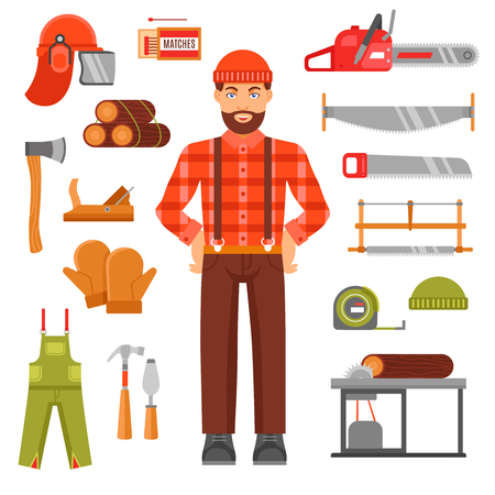 woodcutter: Lumberjack decorative flat icons set with avatar of woodcutter timber saws matches casque overall isolated vector illustration