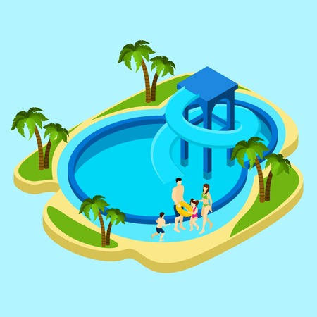 water park: Family at water park with slides and swimming pool on blue background isometric vector illustration